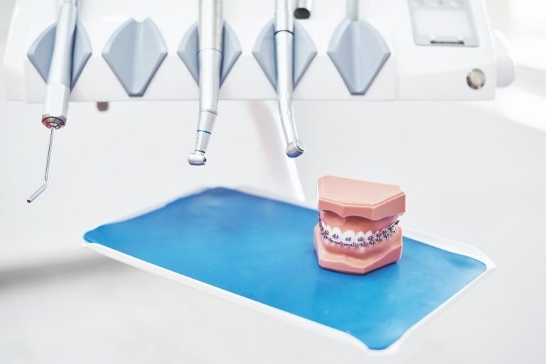 Tools and drills in the dental office. The concept of health and beauty